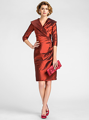cheap Cocktail Dresses-Sheath / Column Mother of the Bride Dress Vintage Inspired V Neck Knee Length Taffeta Half Sleeve with Criss Cross Side Draping 2020