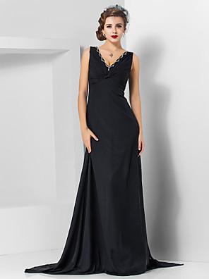 cheap Evening Dresses-Sheath / Column Elegant Black Engagement Formal Evening Dress V Neck Sleeveless Sweep / Brush Train Chiffon with Crystals Draping 2020