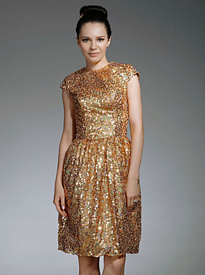 cheap Special Occasion Dresses-Sheath / Column All Celebrity Styles Inspired by Emmy Sparkle & Shine Holiday Homecoming Cocktail Party Dress Jewel Neck Short Sleeve Knee Length Sequined with Draping 2020