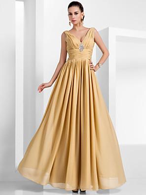 cheap Evening Dresses-A-Line Empire Yellow Wedding Guest Formal Evening Dress V Neck Sleeveless Floor Length Chiffon with Pleats Crystals 2020