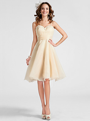 cheap Mother of the Bride Dresses-Ball Gown Sweetheart Neckline / Spaghetti Strap Knee Length Organza Cute / Pastel Colors Homecoming / Cocktail Party / Prom Dress with Ruched / Beading / Draping 2020