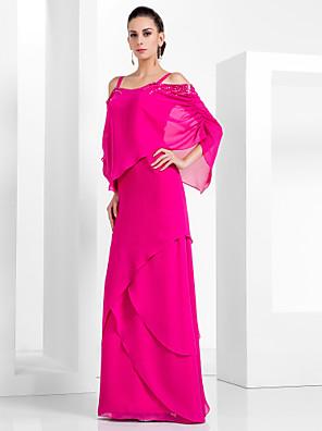 cheap Evening Dresses-Sheath / Column Elegant Pink Wedding Guest Formal Evening Dress Spaghetti Strap Sleeveless Floor Length Chiffon with Beading Tier 2020