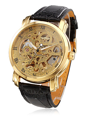 cheap Sport Watches-WINNER Men's Skeleton Watch Mechanical Watch Automatic self-winding Luxury Water Resistant / Waterproof Quilted PU Leather Black Analog - Golden / Hollow Engraving