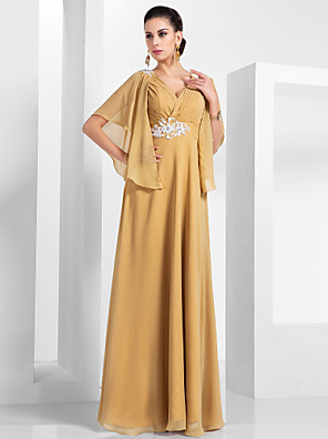cheap Evening Dresses-A-Line Elegant Formal Evening Wedding Party Dress V Neck Short Sleeve Floor Length Chiffon with Ruched Appliques 2020