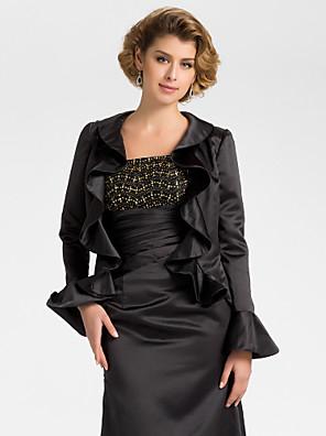 cheap Wedding Wraps-Long Sleeve Coats / Jackets Satin Wedding / Party Evening Wedding  Wraps With