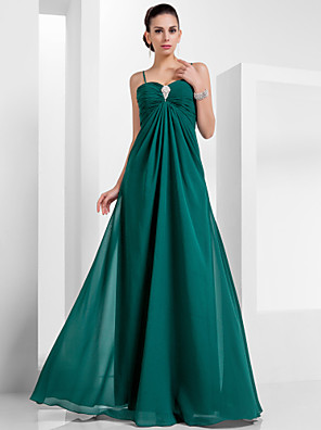 cheap Bridesmaid Dresses-A-Line Empire Green Holiday Formal Evening Dress Spaghetti Strap Sleeveless Floor Length Chiffon with Crystals 2020