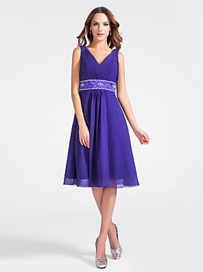 cheap Special Occasion Dresses-Back To School Ball Gown Homecoming Cocktail Party Dress V Neck Sleeveless Knee Length Chiffon with Criss Cross Beading Draping 2020 Hoco Dress