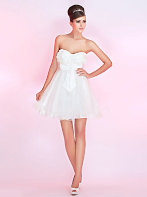 cheap Special Occasion Dresses-Back To School Ball Gown Homecoming Cocktail Party Prom Dress Strapless Sweetheart Neckline Sleeveless Short / Mini Satin Tulle with Bow(s) Flower 2020 Hoco Dress