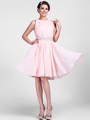 cheap Wedding Dresses-Back To School Ball Gown Cute Pastel Colors Homecoming Cocktail Party Wedding Party Dress Jewel Neck Sleeveless Knee Length Chiffon with Beading Draping 2020 Hoco Dress