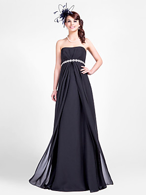 cheap Bridesmaid Dresses-Sheath / Column Strapless Floor Length Chiffon Bridesmaid Dress with Beading / Draping / Side Draping