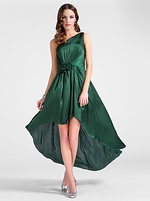 cheap Special Occasion Dresses-Sheath / Column High Low Cocktail Party Wedding Party Dress One Shoulder Sleeveless Tea Length Satin Chiffon with Draping Side Draping Flower 2020