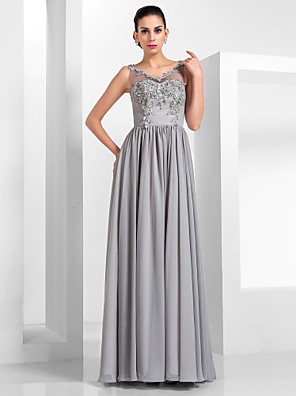 cheap Bridesmaid Dresses-A-Line Elegant Formal Evening Dress Illusion Neck Sleeveless Floor Length Chiffon Tulle with Appliques 2020