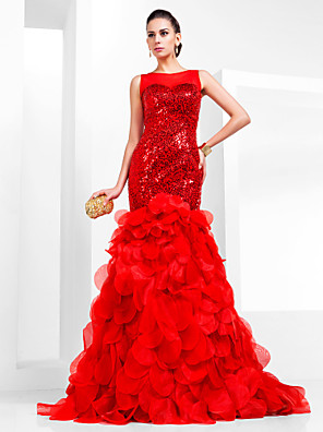 cheap Cocktail Dresses-Mermaid / Trumpet Sparkle Red Engagement Formal Evening Dress Illusion Neck Sleeveless Court Train Organza Sequined with Sequin Tier 2020