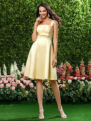 cheap Bridesmaid Dresses-A-Line Square Neck Knee Length Satin Bridesmaid Dress with Draping