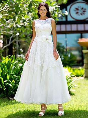cheap Bridesmaid Dresses-A-Line Wedding Dresses Bateau Neck Ankle Length Lace Regular Straps Little White Dress with Appliques 2020