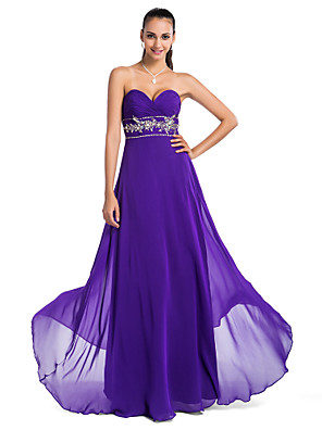 cheap Special Occasion Dresses-Ball Gown Open Back Prom Formal Evening Military Ball Dress Strapless Sweetheart Neckline Sleeveless Floor Length Chiffon with Criss Cross Beading Sequin 2020