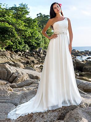 cheap Wedding Dresses-A-Line Wedding Dresses One Shoulder Court Train Chiffon Regular Straps Beach Sparkle & Shine with Sash / Ribbon Beading Button 2020