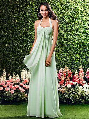 cheap Bridesmaid Dresses-Sheath / Column Halter Neck / Sweetheart Neckline Floor Length Chiffon Bridesmaid Dress with Criss Cross