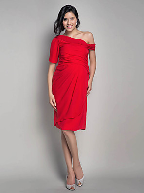 cheap Special Occasion Dresses-Sheath / Column Maternity Cocktail Party Dress One Shoulder Short Sleeve Knee Length Chiffon with Side Draping 2020