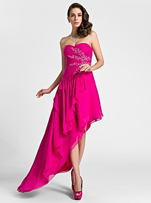 cheap Cocktail Dresses-A-Line High Low Cocktail Party Formal Evening Dress Sweetheart Neckline Sleeveless Asymmetrical Knee Length Chiffon with Beading Draping Appliques 2020