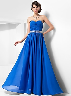 cheap Special Occasion Dresses-Ball Gown Open Back Prom Formal Evening Military Ball Dress Strapless Sweetheart Neckline Sleeveless Floor Length Chiffon with Criss Cross Beading Draping 2020
