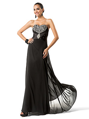cheap Prom Dresses-Sheath / Column Sparkle & Shine Formal Evening Military Ball Dress Sweetheart Neckline Sleeveless Floor Length Chiffon with Beading Crystal Brooch 2020
