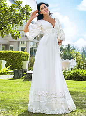 cheap Prom Dresses-A-Line Wedding Dresses V Neck Floor Length Chiffon 3/4 Length Sleeve See-Through Backless with Beading 2020 / Illusion Sleeve