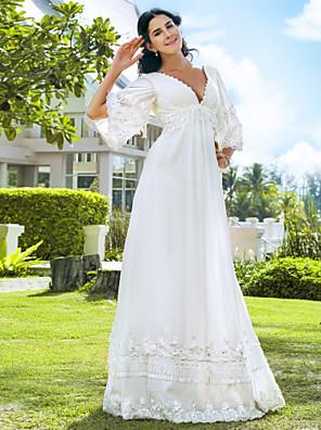 cheap Wedding Dresses-A-Line Wedding Dresses V Neck Floor Length Chiffon 3/4 Length Sleeve See-Through Backless with Beading 2020 / Illusion Sleeve