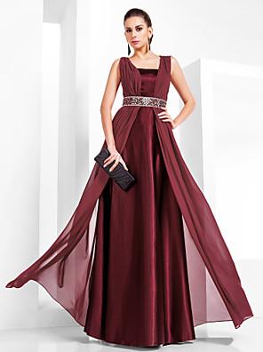 cheap Evening Dresses-Sheath / Column Elegant Prom Formal Evening Dress Square Neck Sleeveless Floor Length Chiffon Stretch Satin with Beading 2020