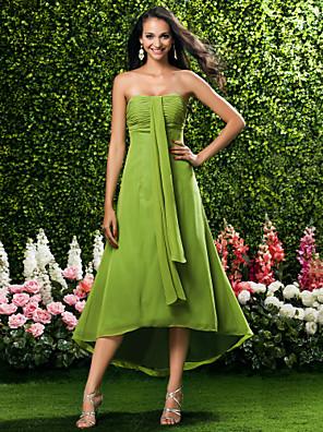 cheap Bridesmaid Dresses-Sheath / Column Strapless / Sweetheart Neckline Tea Length / Asymmetrical Chiffon Bridesmaid Dress with Ruched