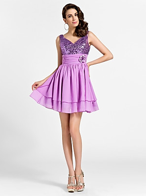 cheap Cocktail Dresses-Back To School Ball Gown Sparkle & Shine Cocktail Party Prom Dress V Neck Sleeveless Short / Mini Chiffon Sequined with Ruched Flower 2020 Hoco Dress