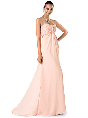 cheap Special Occasion Dresses-Sheath / Column Elegant Pastel Colors Prom Formal Evening Military Ball Dress Sweetheart Neckline Spaghetti Strap Sleeveless Sweep / Brush Train Chiffon with Criss Cross Ruched Beading 2020
