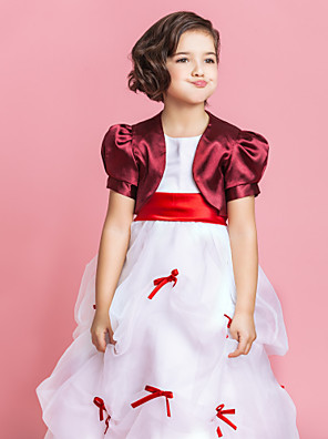 cheap Mother of the Bride Dresses-Short Sleeve Shrugs Satin Party Evening Wedding  Wraps / Kids' Wraps With
