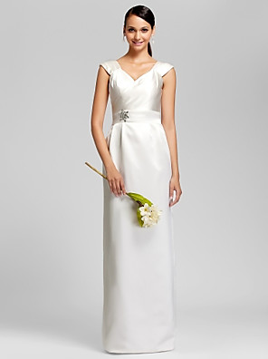 cheap Wedding Dresses-Sheath / Column V Neck Floor Length Satin Bridesmaid Dress with Sash / Ribbon / Beading