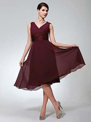 cheap Bridesmaid Dresses-A-Line V Neck Knee Length Chiffon Bridesmaid Dress with Ruched