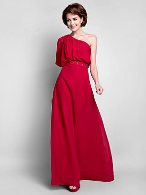 cheap Bridesmaid Dresses-Sheath / Column Mother of the Bride Dress Elegant One Shoulder Floor Length Chiffon Half Sleeve with Beading Draping 2020