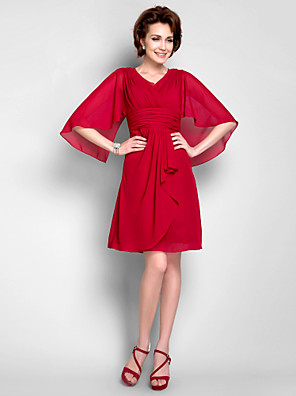 cheap Mother of the Bride Dresses-Sheath / Column Mother of the Bride Dress Vintage Inspired V Neck Knee Length Chiffon 3/4 Length Sleeve with Criss Cross Ruched Draping 2020