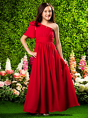 cheap Prom Dresses-A-Line / Princess One Shoulder Floor Length Chiffon Junior Bridesmaid Dress with Beading / Bow(s) / Draping / Spring / Summer / Fall / Apple / Hourglass