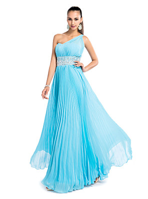 cheap Wedding Dresses-Sheath / Column Open Back Pastel Colors Prom Formal Evening Wedding Party Dress One Shoulder Sleeveless Floor Length Chiffon with Pleats Beading 2020
