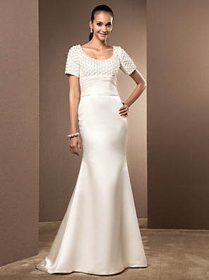cheap Wedding Dresses-Mermaid / Trumpet Wedding Dresses Scoop Neck Court Train Lace Satin Short Sleeve with Pearl Ruched 2020