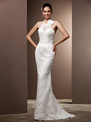 cheap Wedding Dresses-Mermaid / Trumpet Wedding Dresses Halter Neck Sweep / Brush Train Lace Regular Straps Open Back with Beading Flower Button 2020