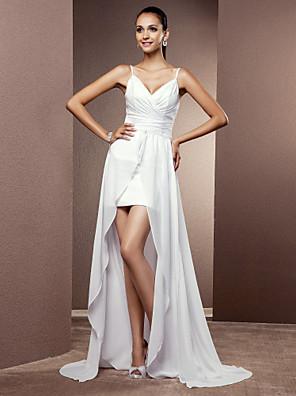 cheap Wedding Dresses-Sheath / Column Wedding Dresses V Neck Asymmetrical Chiffon Sleeveless with Ruched Criss-Cross 2020 / Removable train