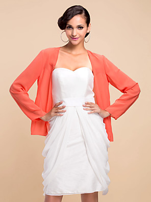 cheap Special Occasion Dresses-Long Sleeve Coats / Jackets Chiffon Party Evening Wedding  Wraps With