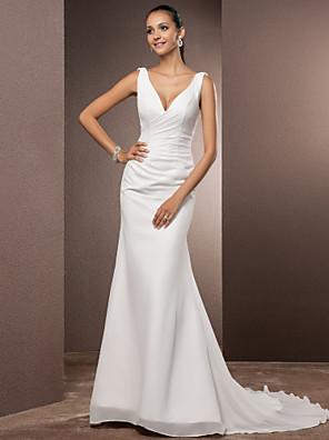 cheap Wedding Dresses-Sheath / Column Wedding Dresses V Neck Court Train Chiffon Over Satin Regular Straps Vintage Backless Elegant with Side-Draped 2020
