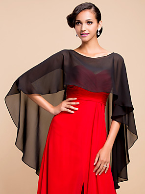 cheap Prom Dresses-Sleeveless Capelets Chiffon Wedding / Party Evening Wedding  Wraps With Draping / Solid
