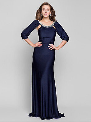 cheap Cocktail Dresses-Mermaid / Trumpet Open Back Formal Evening Military Ball Dress Scoop Neck 3/4 Length Sleeve Sweep / Brush Train Jersey with Beading Draping 2020