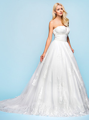 cheap Wedding Dresses-Ball Gown Wedding Dresses Strapless Court Train Organza Tulle Sleeveless with 2020