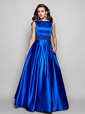 cheap Wedding Dresses-A-Line Elegant Blue Prom Formal Evening Dress Boat Neck Sleeveless Floor Length Satin with Pleats Beading 2020