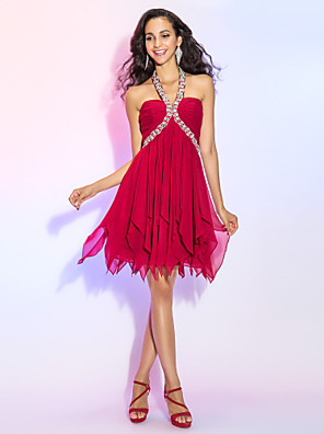 cheap Cocktail Dresses-Back To School A-Line Sexy Red Homecoming Cocktail Party Dress Halter Neck Sleeveless Asymmetrical Chiffon with Crystals Tier 2020 Hoco Dress