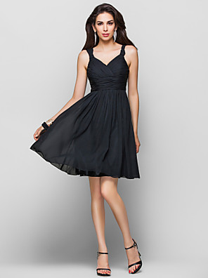 cheap Special Occasion Dresses-Back To School Ball Gown Homecoming Cocktail Party Dress Straps Sleeveless Knee Length Chiffon with Criss Cross Ruched Draping 2020 Hoco Dress